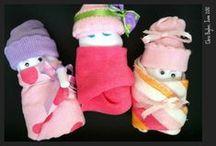 B A B Y   ♥   S H O W E R S / Baby shower ideas and gifts, decorations, diy diaper cake , burp cloths, bibs / by Chris Boyles