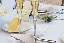 Wedding Toasting Glasses & Cake Servers / Wedding reception accessories featuring champagne toasting glasses and wedding cake knifes and cake server sets. / by Wedding Bedazzle