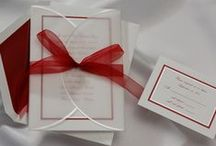 Hues of Red Wedding Invitations / Ideas for brides looking for wedding invitations with hues of red. Invitations for red theme weddings, Valentine's Day, Autumn or Christmas holiday weddings and events in various shades of the color red. Wedding invitations with red ribbons, red borders, red card stock and red accents. / by Wedding Bedazzle