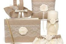 Matching Wedding Accessories Sets / Wedding accessories sets feature wedding collections that are trending for today's bridal couple. Sets include: guest books, wedding pillows, flower girl baskets, bridal garters and wedding pens. Brides will find popular Rustic natural burlap with lace and pearls, ivory satin with lace, pearls and rhinestones to name a few. / by Wedding Bedazzle