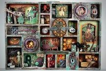 Printer's Trays, Shadow Boxes, Configurations / Shadow box art using Tim Holtz Configurations and 7 Gypsies Photo Trays as well as plain old reversed canvases / by Marjie Kemper Designs