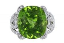 Peridot / Peridot is one of the few gemstones that occur in only one color, an olive green. The intensity and tint of the green, however, depends on how much iron is contained in the crystal structure, so the color of individual peridot gems can vary from yellow--to olive--to brownish-green. The most valued color is a dark olive-green. / by Shreve, Crump & Low