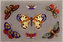 Berlin Woolwork - Animals - Butterflies and moths / Butterflies are a great way to introduce motion and color to needlework. / by Laura Jones