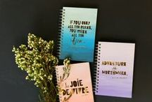 """FOIL ACCENTS / 100 sheet 6x9"""" journals have beautiful foil stamped quotes that will inspire anyone to draw, write and create! / by ecojot"""