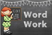 word work ideas / word families, rhymes, make words, spelling / by Hilary Lewis - Rockin' Teacher Materials
