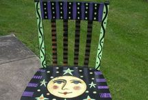 Painted fun chairs and more!!! / Wooden chairs painted in fun ways / by Edie Blough