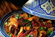 Moroccan Tajine | الطاجين المغربي  / Tajines in Moroccan cuisine are slow-cooked stews braised at low temperatures, resulting in tender meat with aromatic vegetables and sauce. They are traditionally cooked in the tajine pot, the conical cover which has a knob-like handle at its top to facilitate removal. While simmering, the cover can be lifted off without the aid of a mitten, enabling the cook to inspect the main ingredients, add vegetables, mix the contents, or add additional braising liquid. (Wiki) / by Mohammad Haidar (محمد حيدر)