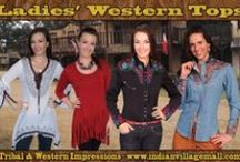 Lady's Tops, Shirts, Vests And Shawls / Tribal Impressions extensive collection of Lady's Tops, Shirts, Vests And Shawls - Trendy Tops For Every Occasion With Native American And Western Flair!