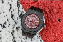 Hublot Ferrari / Hublot has become the watchmaking partner of Ferrari. This  agreement covering all the activities of Ferrari and Hublot, both in terms of brand image and the commercial activities of both companies. Since it is a genuine exchange between the two brands, a pooling of resources and information, a win-win agreement / by Hublot Watches