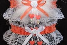 Peach - Coral - Orange Garters for Wedding Bridal Prom Fashion / Don't forget to be awesome. There are 21 different shades of Peach Coral or Orange satin band and trim Garters to choose from on white black or ivory lace. Peach Orange Wedding Garters - Peach Orange Bridal Garters - Peach Orange Prom Garters - Peach Orange Fashion Garters - Peach Orange Fancy Bands™ Trademark Garters at Custom Accessories Garters LLC - www.garters.com / by garters.com
