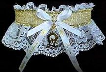 Gold Garters for Wedding Bridal Prom Fashion / All that Glitters IS Gold. There are shiny or sheer Gold band and trim Garters to choose from on white black or ivory lace. Gold Wedding Garters - Gold Bridal Garters - Gold Prom Garters - Gold Fashion Garters - Gold Fancy Bands™ Trademark Garters at Custom Accessories Garters LLC - www.garters.com / by garters.com