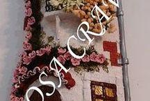 telhas decoradas / feitas com massa de moldar / by Elisabete DE  Oliveira