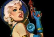 Grab your ray gun!  Retro futurism in space! / Retro futurism back to the future tomorrow tomorrowland space spaceship planet planets starship stars starbase spaceport age sci-fi science fiction pulp martians BEM's alien aliens ray raygun blaster phaser  / by Dave A
