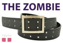 The Zombie Vegan Belt / The Zombie Truth vegan belt has a lot of holes in it, yet it keeps on living! It has a super cool buckle that is sure to funkify any outfit. www.truthbelts.com / by Truth Belts - Vegan Fashion