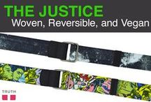 "The Justice Vegan Belt / Intoducing the Justice belt: vegan and reversible! - This belt is two belts in one, working well with casual pants or jeans. The word ""Justice"" is written on the tip, which acts as a reminder to stay true to your self. $38.00 / by Truth Belts - Vegan Fashion"