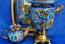 Russian Samovars & Painted Items / The basic traditional Russian Samovar is a large metal container used for heating and boiling water.  / by Phil