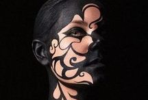 BODYART AND EFFECTS. / FACE. HEAD/SHOULDERS. SEMI NUDE. MALE AND FEMALE. SPFX.  / by CAA Manukau South Campus.