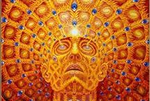 """Alex Grey - Visionary Artist / Once a medical artist at Harvard, Alex Grey (born Alex Velzy on November 29, 1953) has, over the last thirty years, painted """"theocentric"""" personages based on his own experiences of meditation, prayer and use of LSD.  Alex Grey is a Vajrayana practitioner.   / by Messenger Spirit www.ascensionnow.co.uk"""
