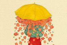 Parapluies et parasols. Illustrations / by Monique Chartrand