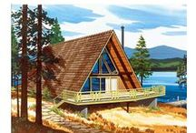 A-Frame House Plans / Many consider the A-Frame the classic vacation home. It is easily imagined, nestled away in a wooded setting, reflecting itself in the rippling waters of a mountain lake, or overlooking the crashing waves of an ocean beachfront. The steep pitch of the roof is undaunted by the weight of heavy snowfall. The upper floor can be either used as a sleeping loft or for storage space. Exterior maintenance is generally limited to its front and rear, since the roof extends nearly to the ground. / by FamilyHomePlans.com