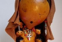 gourd art, ethnic jewelry, beads, vessels, baskets, art dolls,masks, color, pattern and inspiration / by Norma Prickett