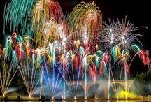 Artistic-Fabulous Fireworks / Red & Green (Kayley's favorites) over water  / by K Sssss