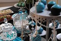 Breakfast at Tiffany's Bridal Shower or Wedding / #BreakfastatTiffanys #AudreyHepburn #BridalShower #Wedding #TiffanyBlue #BlackWhiteandTiffanyBlue #DessertTable #CandyBuffet / by Sweet City Candy