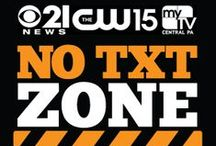 """CBS 21 No Text Zone / TEXTING WHILE DRIVING KILLS!  Take a stance against distracted driving. Take the CBS 21, CW 15, and My Tv Central PA's """"No Text Zone"""" pledge today. #CBS21NTZ  Go To : https://www.facebook.com/cbs21news/app_201742856511228  / by WHP, CBS 21 News"""