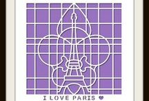 I Love Paris Stencil / This Board features different Photo Collage layouts all using the I love Paris Stencil as the design template. / by Lea France Scrapbooking (Photo Collage)
