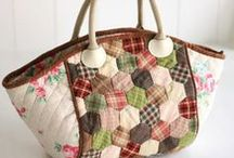 Bags:  Japanese Style / Fabric bags, purses, totes, wallets, and keyrings made in taupes and neutrals, mostly appliqued and hand-pieced / by Theresa Callahan