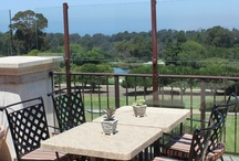 Palos Verdes Golf Club - Installation Photos / The Palos Verdes Gold Club in Palos Verdes Estates, CA. features Sunbrella fabric patio umbrellas, wrought iron patio furniture, and infrared outdoor heaters.  / by Contract Furniture Company