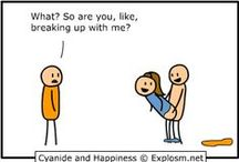"✦ Cyanide & Happiness ✦ / Started by a then 16-year-old Kris Wilson in 2004, Cyanide & Happiness is now written on a daily basis by an alternating crew of four people.  While all four tend to maintain the peculiar stick figure style that Wilson started, the comic does occasionally deviate from that formula.  The humor in this cartoon is a ""little"" dark  (^◡^) / by Selin Amsterdam"