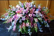 Funeral Arrangements / casket sprays, vased arrangement, basket arrangements, design dished arrangements, and plants. / by Flowers by Anna