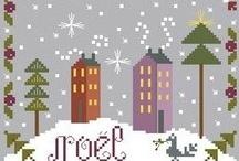 point de croix Noël, christmas crosstitch / plein de jolies petites grilles en free (ou pas ) / by brigitte martin
