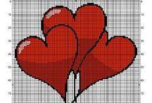 Point de croix coeurs-Hearts / Des cœurs que nous ne cessons d'offrir ! / by mari@net