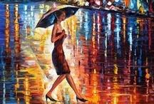 Leonid Afremov - Rain / I love his rain paintings  / by Greg Speck