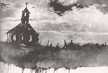 "Stephen Gammell's Artwork / Remember that ""Scary Stories"" series you used to read way back when? And how can you ever forget those chilling images? / by Rachel L. Demeter"