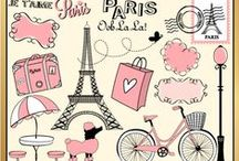 Paris themed cliparts and party inspirations / by Mygrafico Digitals
