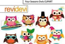 Mygrafico Hootin' Owls Clipart / by Mygrafico Digitals