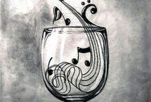 MUSIQUES INATTENDUES! / Des notes, où on ne les attend pas, des notes qui apaisent, des notes qui dénotent. Partitions. Paper sheet music / by Liane DENTELLES DE PAPIER