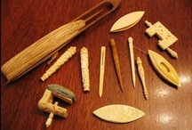 antique needlework tools / See also: chatelains, needles and thread, sewing machines, pinkeeps, sewing birds, scissors, thimbles, tape measures, bone/ivory crochet hooks/knitting needles / by Charlotte Menzel