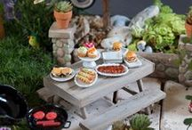 LLL Food for Miniature Gardens / Desserts, serving, silverware, plates, dishes, parties, meals, tea and other food for miniature gardens. Fairy Gardens, Mini Gardens, Gardening. / by Lush Little Landscapes