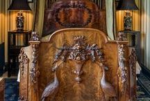 Antique Furniture / English furniture styles developed in ways broadly in line with those of mainland Europe, but were interpreted in a distinctive fashion. English furniture periods relate to the Monarchs: Medeival:1485-1603, Elizabethan & Tudor: 1558-1600, Jacobean: 1600-20, Carolean: 1620-40, Cromwellian: 1640-60, Restoration: 1660-88, William & Mary 1688-1700, Queen Anne: 1702-14, Georgian: 1714-80, Regency: 1780-1837, Victorian: 1837-1901, & Edwardian: 1901-10  / by Allan Dynes