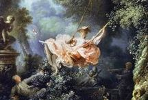 """Rococo / Boucher / Fragonard / Elizabeth  Vigee le Brun / Architecture / Furniture  / Less commonly roccoco, also referred to as """"Late Baroque"""", is an 18th-century artistic movement and style, which affected several aspects of the arts including painting, sculpture, architecture, interior design, decoration, literature, music and theatre. The Rococo developed in the early part of the 18th century in Paris, France as a reaction against the grandeur, symmetry and strict regulations of the Baroque, especially that of the Palace of Versailles.  / by Allan Dynes"""
