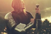 """St. Joan of Arc / Joan of Arc (French: Jeanne d'Arc) ca. 1412[5] – 30 May 1431, nicknamed """"The Maid of Orleans,"""" is a folk heroine of France and a Roman Catholic saint. She was born a peasant girl in what is now eastern France. Claiming divine guidance, she led the French army to several important victories during the Hundred Years' War, which paved the way for the coronation of Charles VII of France. Patron Saint of France, her feast day is celebrated on 30 May. Source: Wikipedia. 51 Pins • / by Allan Dynes"""