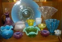 "Design and Decor - Fenton - Hobnail and More / Fenton glass.  Lamps are in ""Illumination"".  You might notice a lot of hobnail....  Since I can't seem to stop pinning Fenton, I'm moving the non-Fenton to another board.  Also I'll have a separate board for Fenton Crest.  There are a few pieces of Anchor Hocking Moonstone Glass mixed in with the hobnail. / by Heather Spehle"