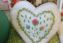 Felt hearts and flowers / We make these hearts and give them to our RS sisters when they are struggling with something, / by Chris Davis