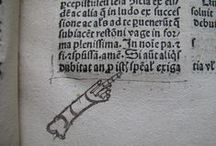 Manicules  / These early type of 'N.B.' notes were used to mark important parts of a text and were first used in the Middle Ages. They could be simple or highly ornate!  / by Marsh's Library