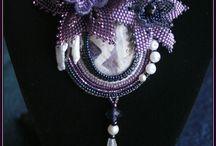 Beaded Cabochon, rivolis and bead embroidery / Handmade beaded cabochons / by Heidi