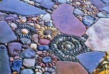 CREATE WALKWAYS & PATHWAYS / STONES, CEMENT, ORNAMENTAL STEPS / by Jane Knight